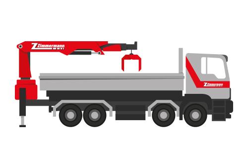 Lastwagen 4-Achser mit Kran
